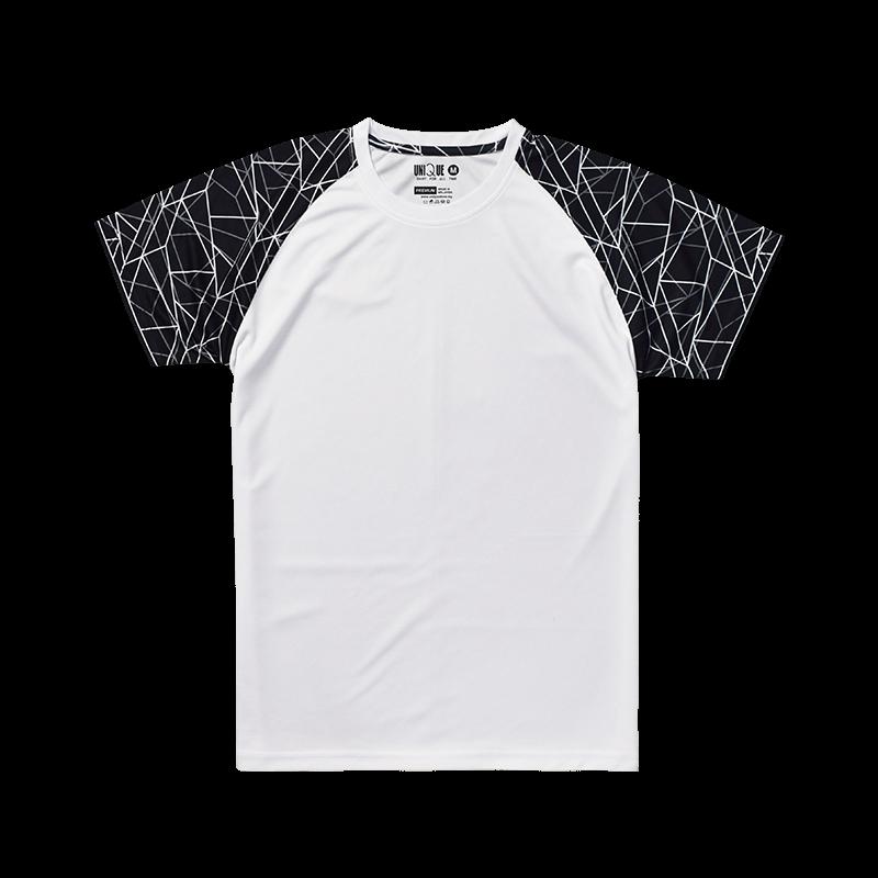 Sublimation Line Raglan Sleeve Sport Tees - White/Black