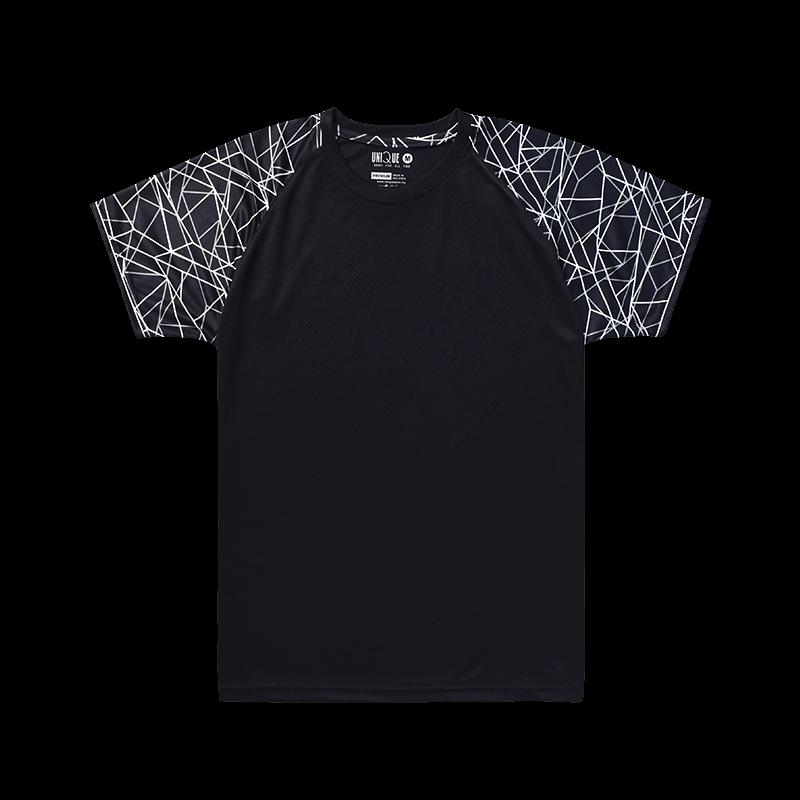 Sublimation Line Raglan Sleeve Sport Tees - Black