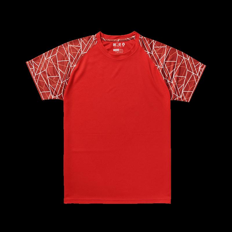 Sublimation Line Raglan Sleeve Sport Tees - Red/Maroon