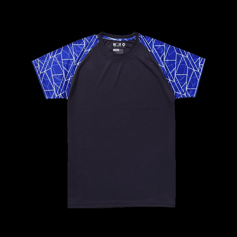 Sublimation Line Raglan Sleeve Sport Tees - Grey/Royal Blue