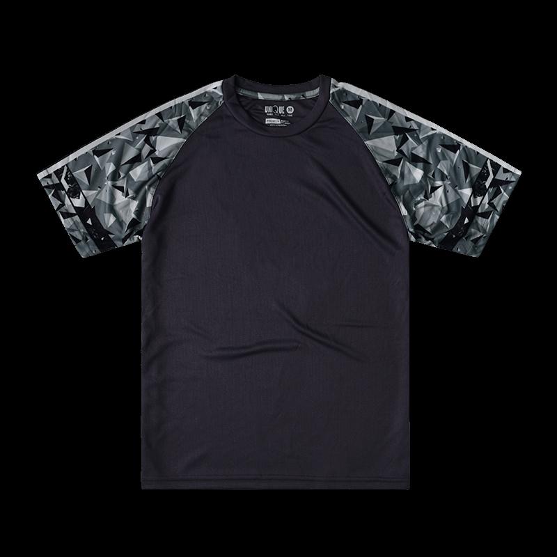 Sublimation Pyramid Raglan Sleeve Sport Tees - Dark Grey