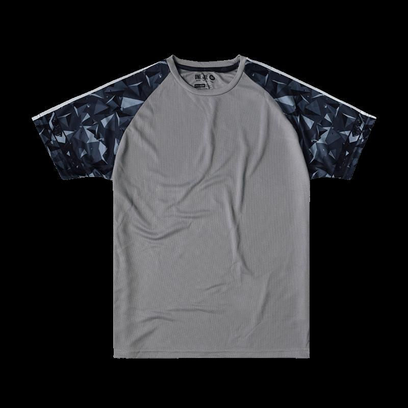 Sublimation Pyramid Raglan Sleeve Sport Tees - Light Grey