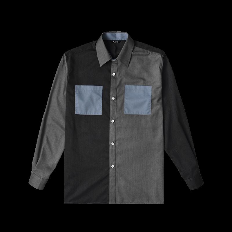 Color Block Shirts - Grey Front