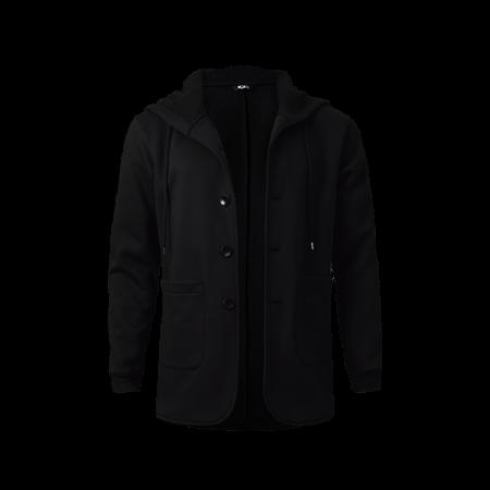 Button Hoodies Fleece Jacket - Black
