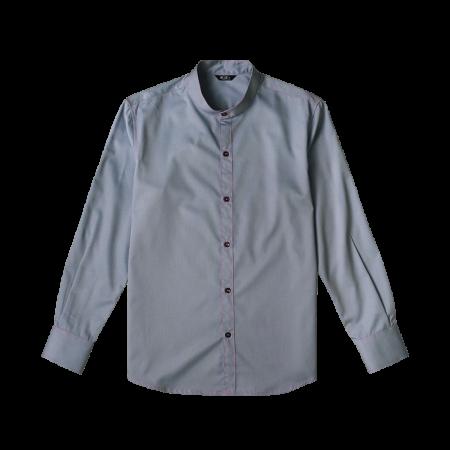 Mandarin Collar Long Sleeve Shirts - Light Blue