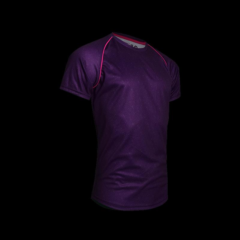Contrast Piping Sport Tees (Set) - Purple Side
