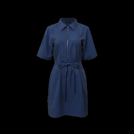 Zip Up Shirt Dress - Blue